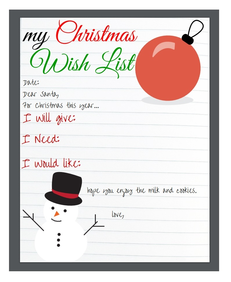 Christmas Wish List Templates 16 Free Printable Word