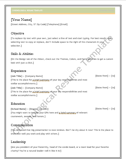 chronological resume templates