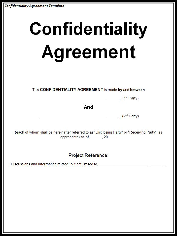 Confidentiality Agreement Template Free Printable Ms Word