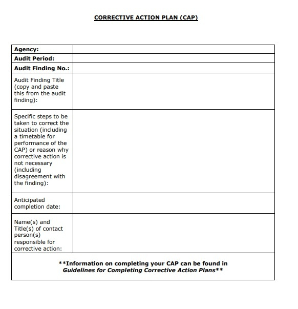 Corrective Action Plan Template from www.wordstemplates.org