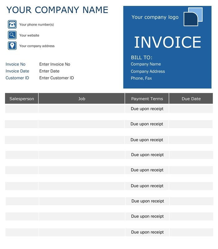 Free Invoice Format Free Word Templates