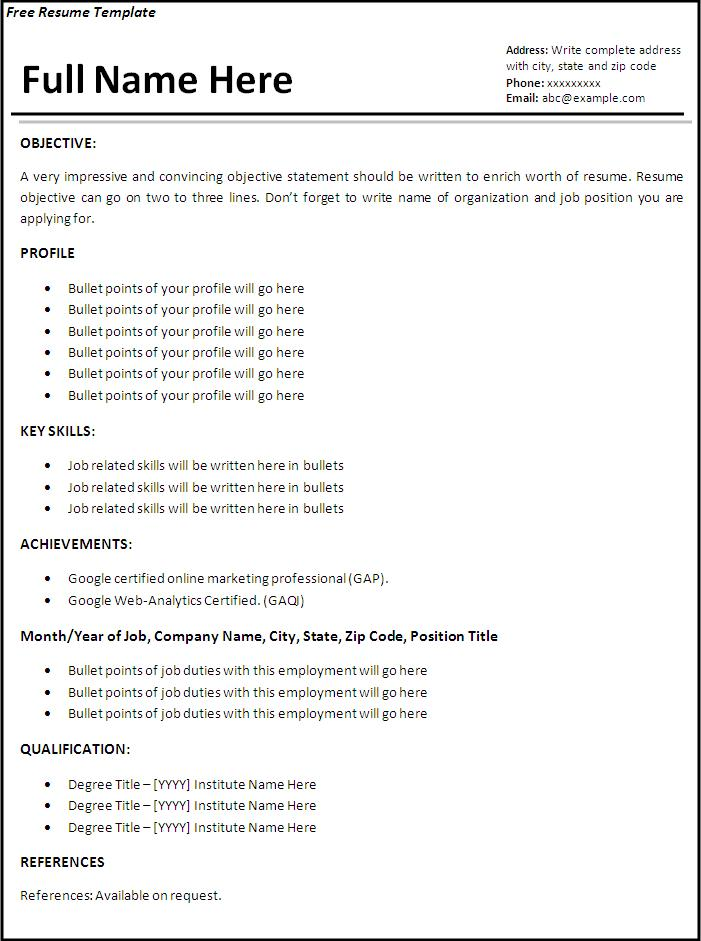 Job Resume Templates   6 Free Printable MS Word Formats
