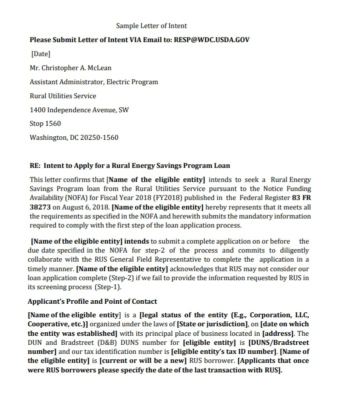 Clearinghouse Letter Of Intent Template