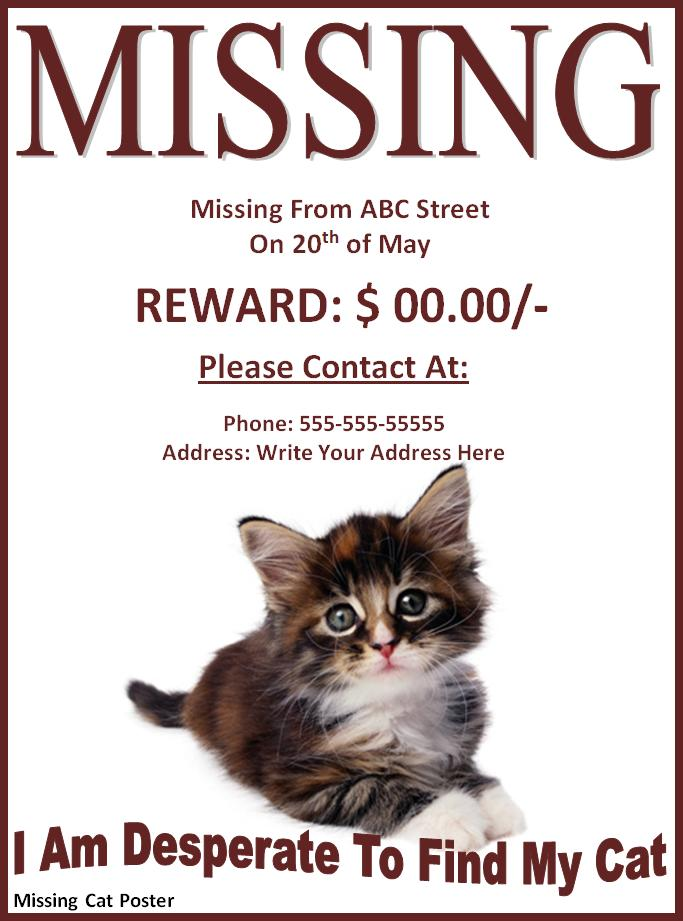 Missing Or Lost Pet Poster Template Free Printable Ms Word
