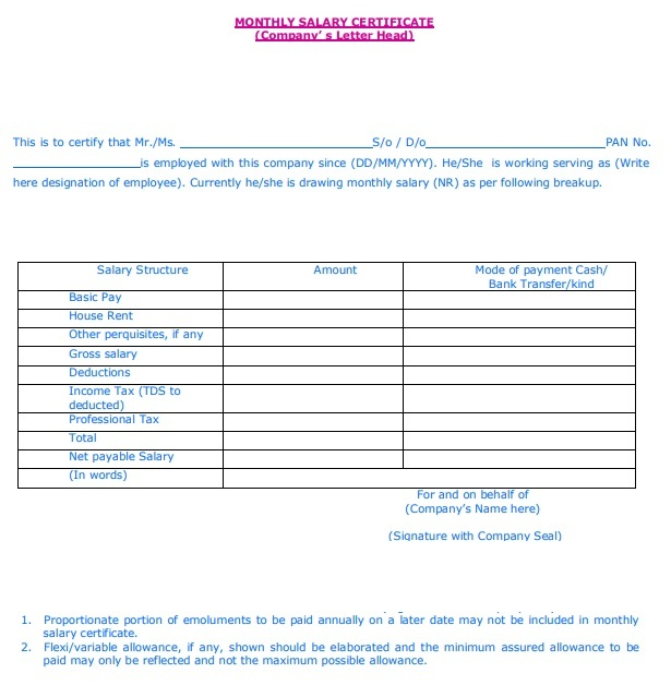 Format Of Salary Certificate Letter Pic Certificate: Salary Certificate Formats
