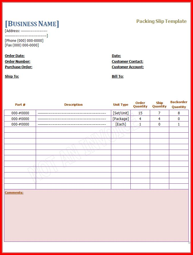 packing slip template free word templates