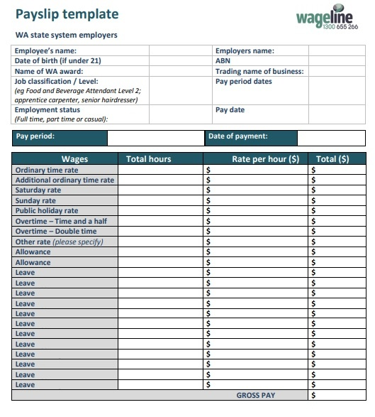 Payslip Template 7 Free Printable Word Excel Pdf Formats Samples Examples