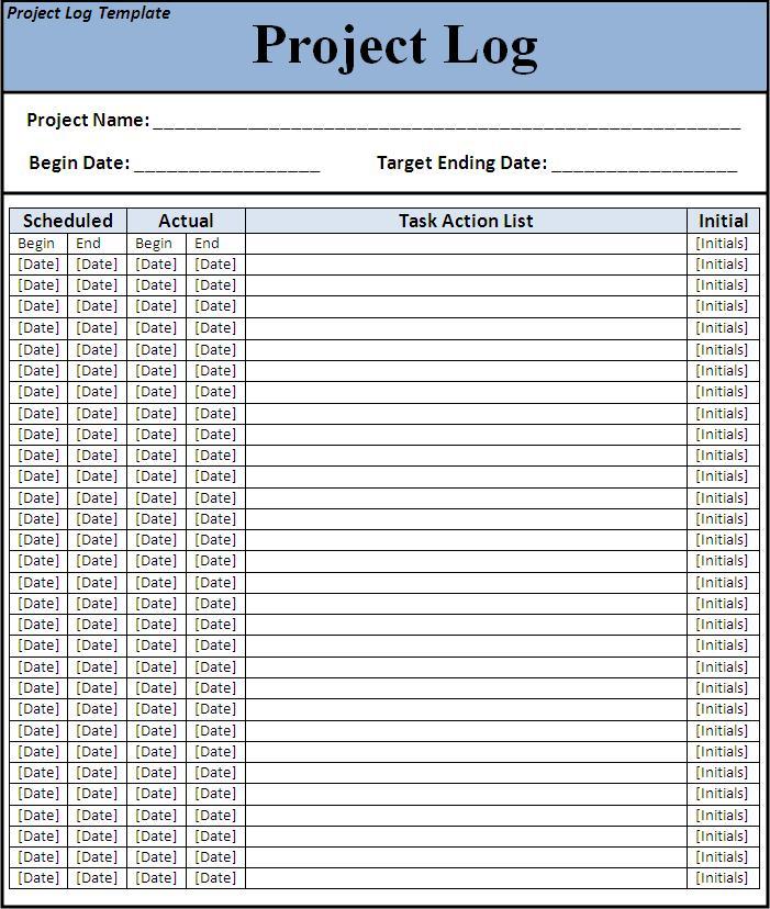Project Log Template   Free Printable