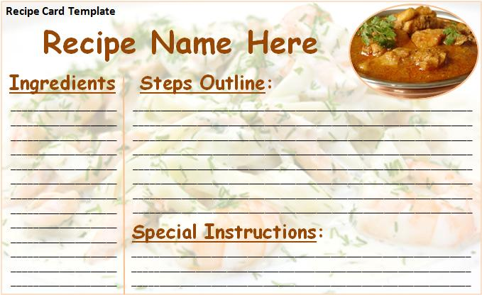 Recipe Card Template   Free Printable MS Word Format