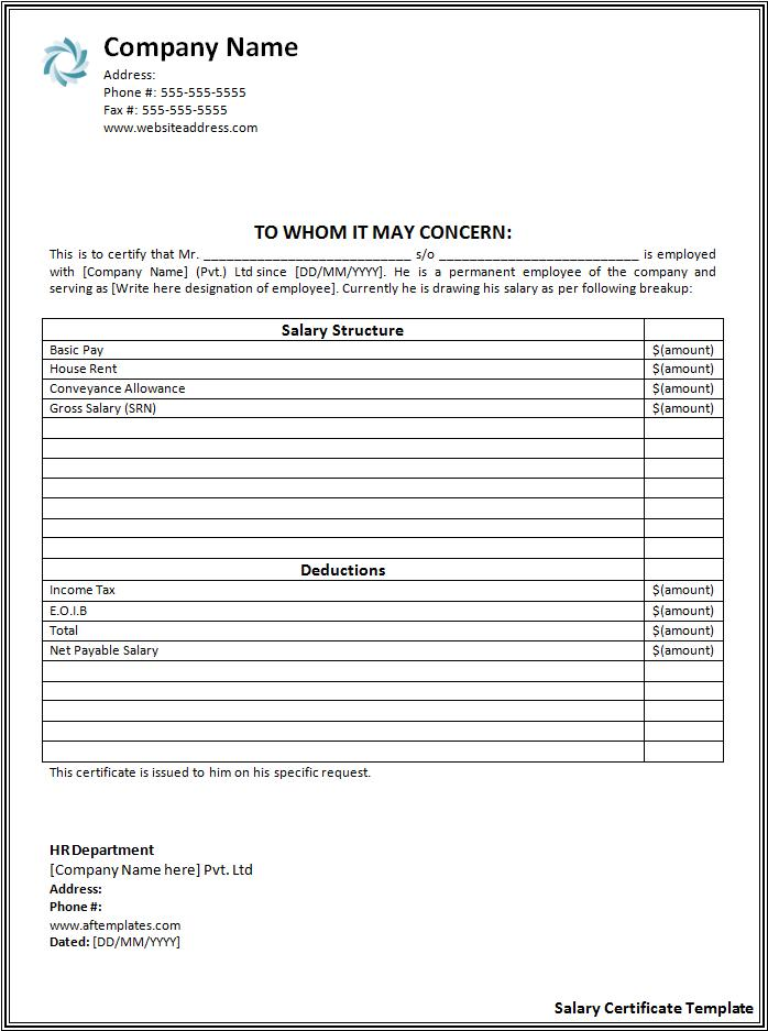 Salary Certificate Formats 21 Free Printable Word Excel Pdf Templates Forms Samples