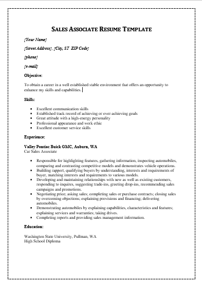 sales resume templates