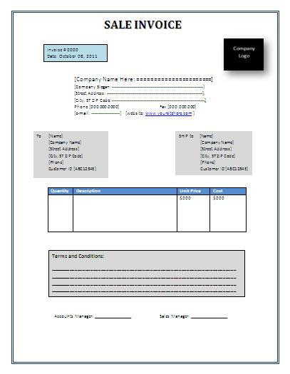 Free Sales Invoice Format Free Word Templates