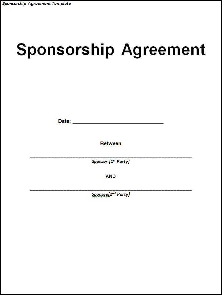 Sponsorship Agreement Template Free Printable Ms Word Format