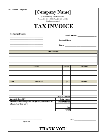 Tax Invoice Template Free Word Templates