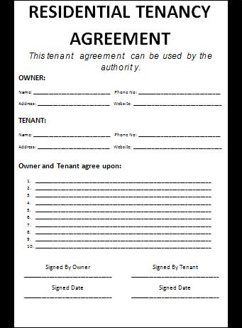 Tenancy Agreement Template Free Printable Ms Word Format