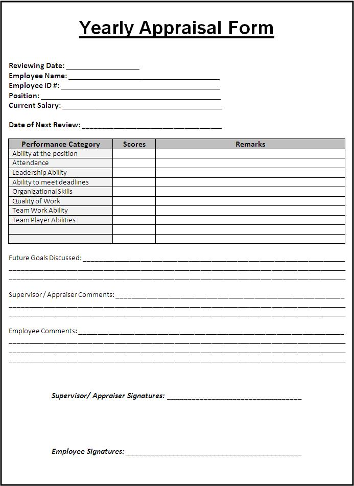Sample Yearly Appraisal Form Free Word Templates