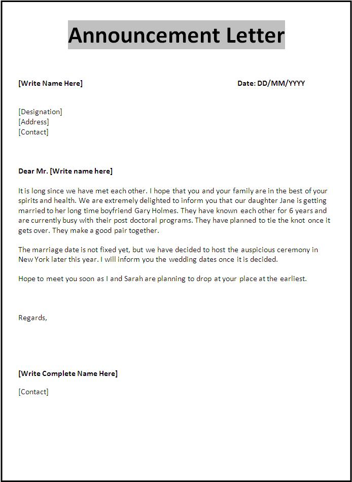 Free Announcement Letter Template