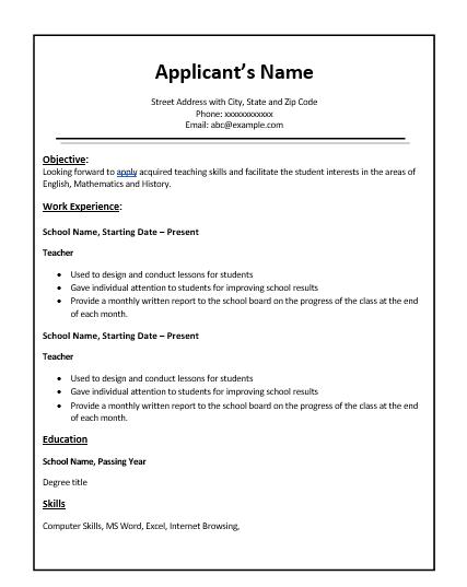 teacher resume templates