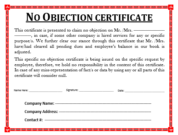 No-Obection-Certificate Objection Letter Template on template 1028a, county annexation,