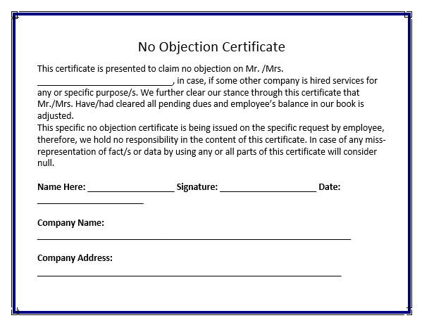 no objection certificate templates