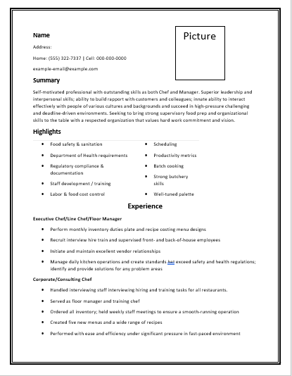 Blank Chef Resume Template Free Word Templates