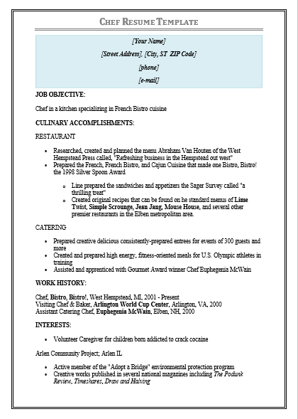 Sample Chef Resume | Free Word Templates