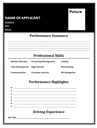 driver resume templates