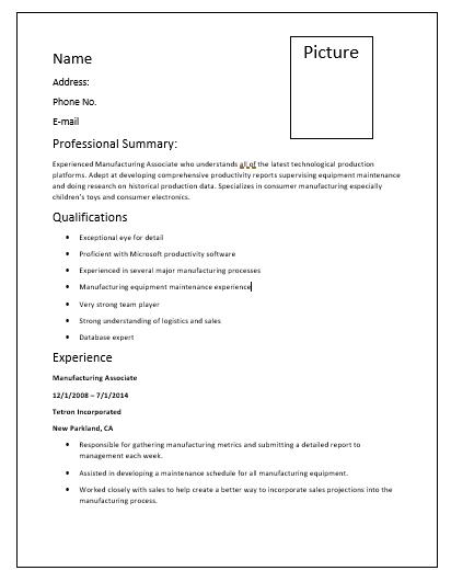 Manufacturing Resume Templates 6 Free Printable Cv Templates