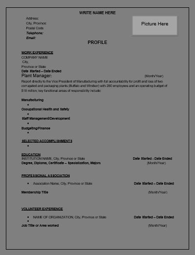 manufacturing resume templates