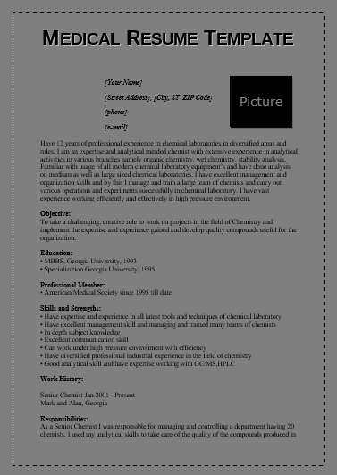 Medical Resume Templates 6 Free Printable Cv Templates
