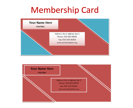 membership card templates 5 free printable card design. Black Bedroom Furniture Sets. Home Design Ideas