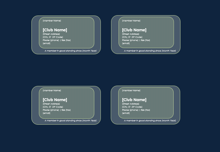 Printable Membership Card template Free Word Templates