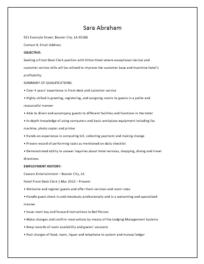 Blank Receptionist Resume Template   Free Word Templates