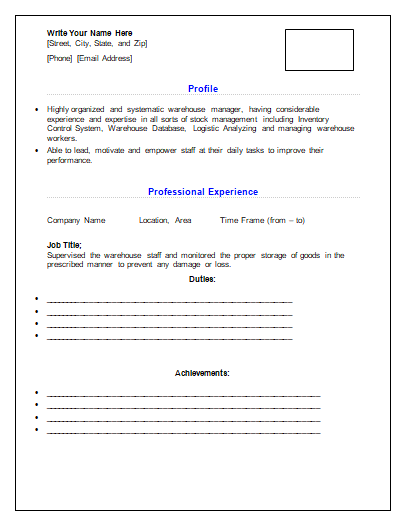 Resume Templates Free Word Templates