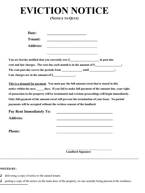 eviction notice forms 17 free printable word pdf