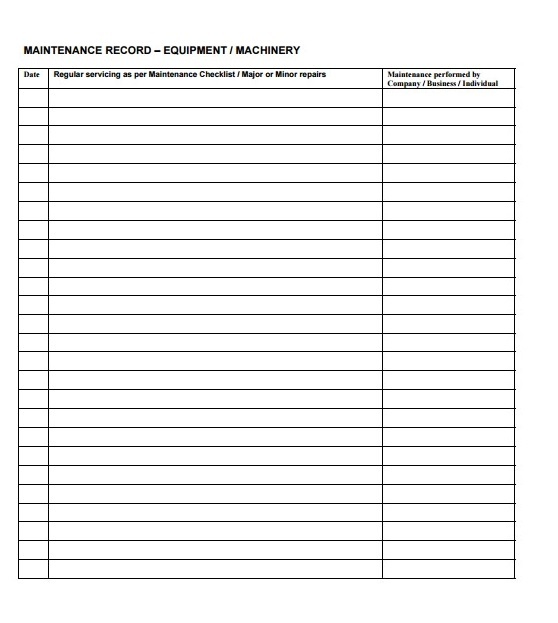 Maintenance Schedule Templates 19 Free Printable Word Excel Pdf Formats
