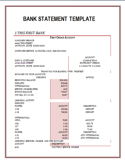 Bank Statement Template Free Word Templates