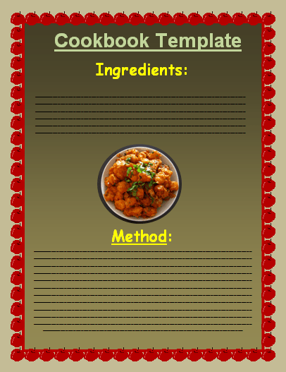 Cookbook Template Excel | Free Word Templates