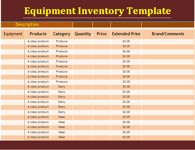 Equipment Inventory Template Free Word Templates