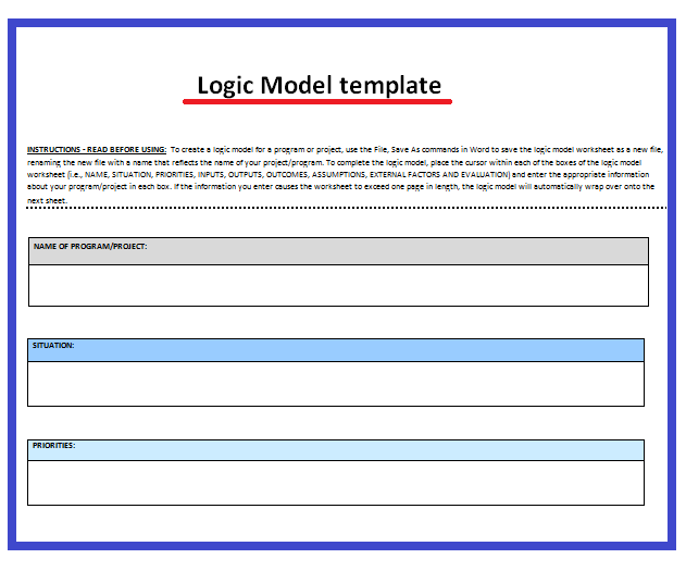 Logic Model Templates 3 Free Printable Word Excel Pdf Samples