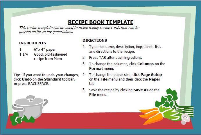 Free Recipe Template Word from www.wordstemplates.org