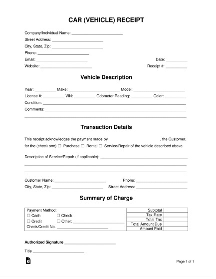 Private Car Sale Receipt Format Free Word Templates