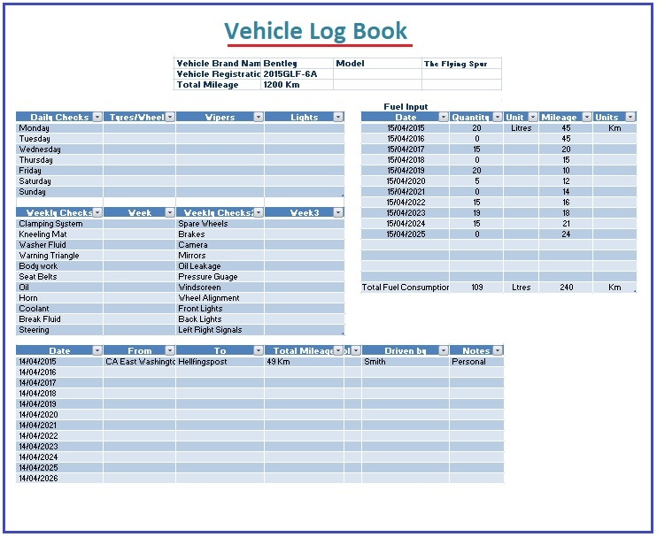Vehicle Log Book Template