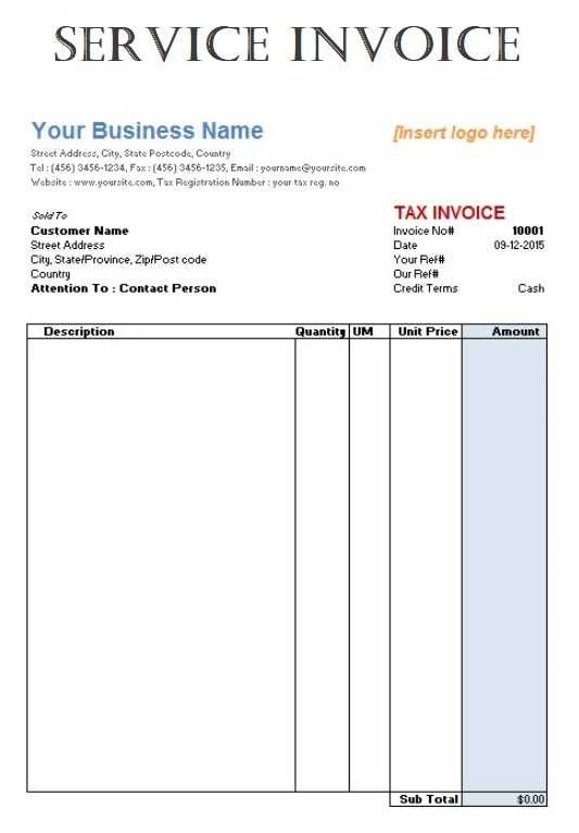 Service Invoice Template Free Word Templates