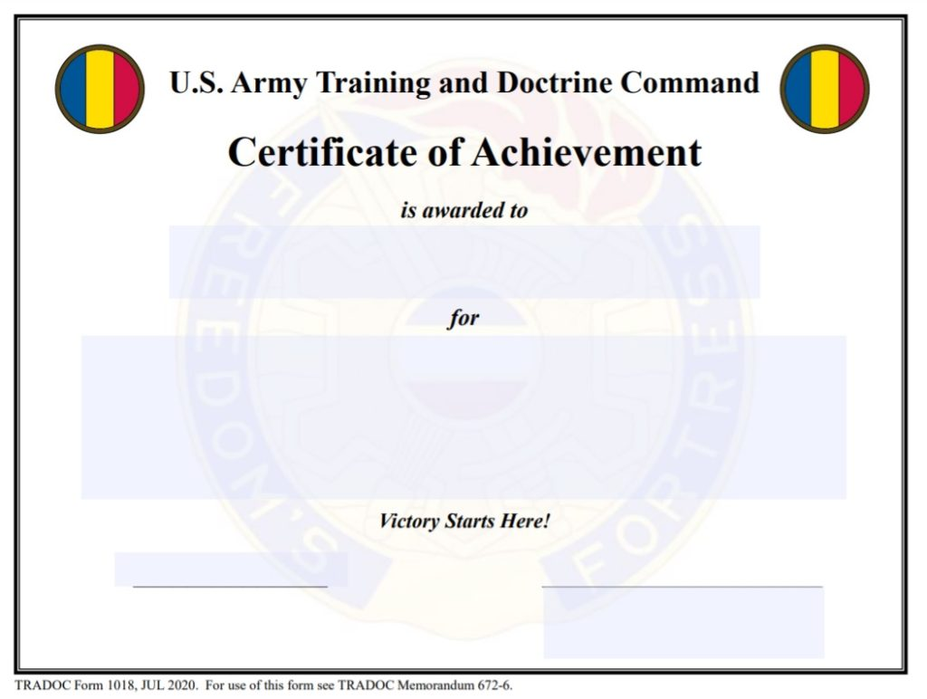 Army Certificate Of Achievement Free Word Templates Army drivers training certificate template