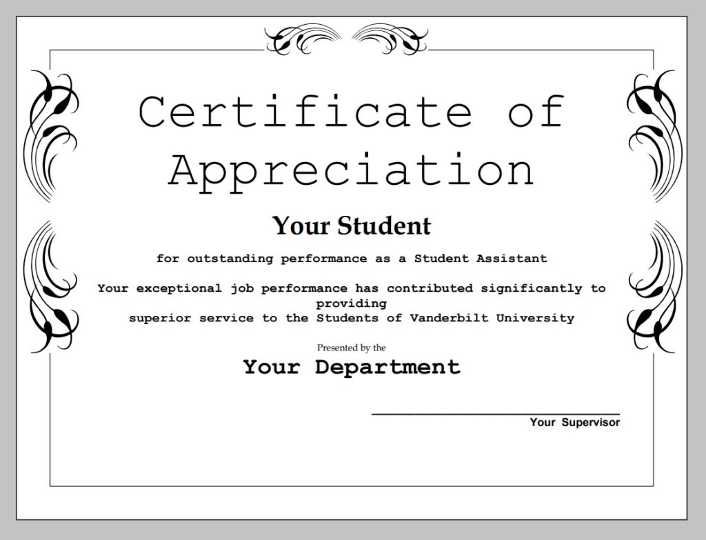 Certificate of Appreciation Template  Free Word Templates Within Certificates Of Appreciation Template